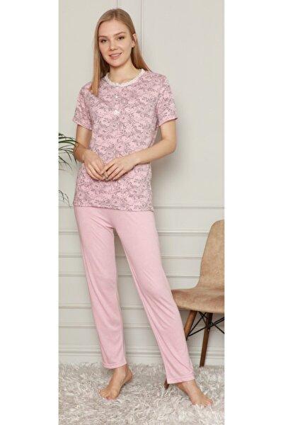 Çiçek Desenli 3 Düğme Dantel Detaylı Kısa Kol Altı Uzun Viskon Pijama Takım