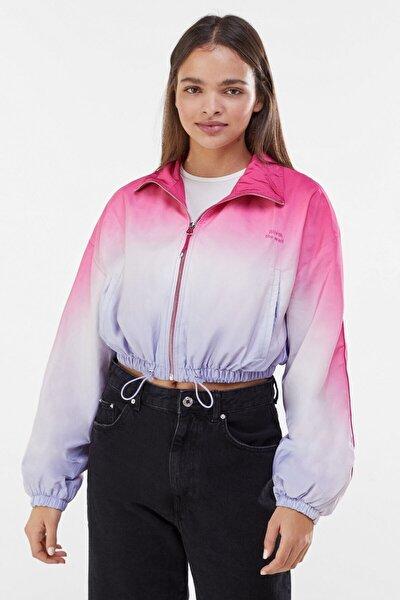 Kadın Pembe Gölgeli Desenli Ceket