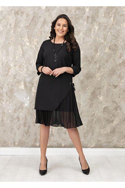 Kadın Siyah Yanı Kurdele Detaylı Büyük Beden Elbise
