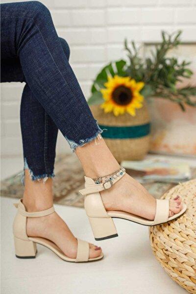 Kadın Bej Tek Bantlı Kalın Topuklu Abiye Ayakkabı