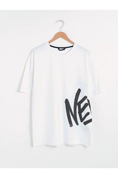 Erkek Beyaz Bisiklet Yaka Tişört