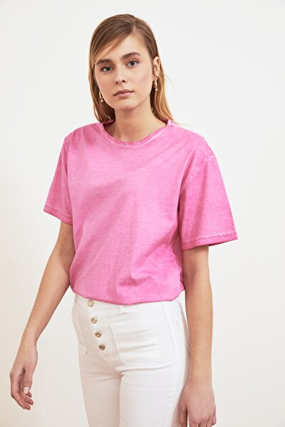 Pembe Yıkamalı Boyfriend Örme T-Shirt TWOSS21TS0858