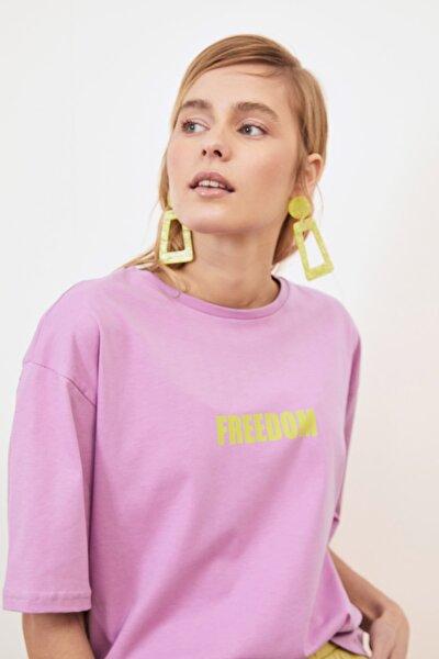 Lila Baskılı Loose Örme T-Shirt TWOSS21TS0316