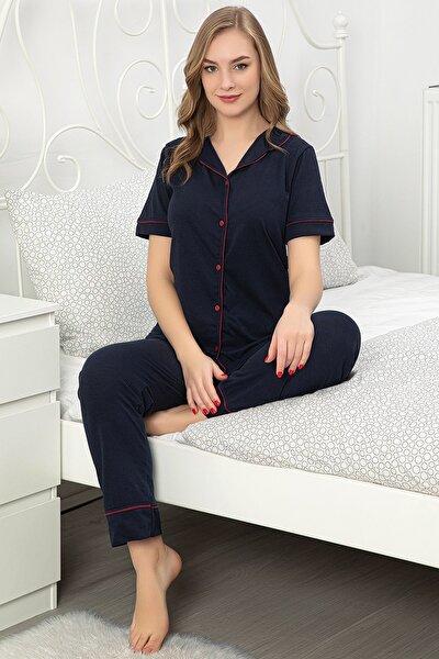 Kadın Kısa Kol Düğmeli Pijama Takımı