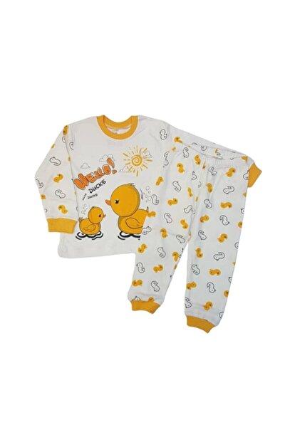 Erkek Bebek Sarı Sevimli Ördek Pijama Takımı