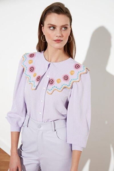 Lila Yaka Detaylı Gömlek TWOSS21GO0232