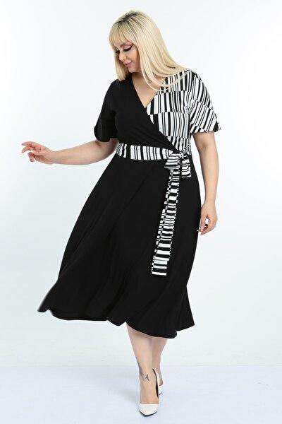 Kadın Siyah Beyaz Çizgi Desenli Kruvaze Yaka Büyük Beden Elbise