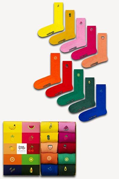 Unisex Renkli 10'lu Nakışlı Soket Çorap Set