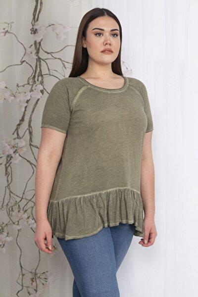 Kadın Haki Reglan Kol Etek Ucu Detaylı Bluz 65N22323