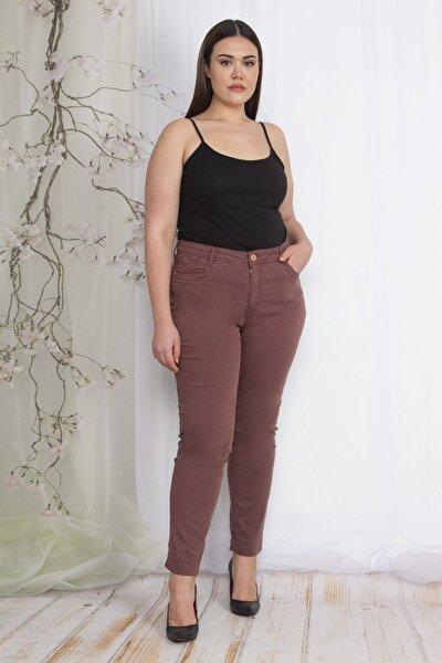 Kadın Renkli Nope Desenli Gabardin Pantolon 65N22350