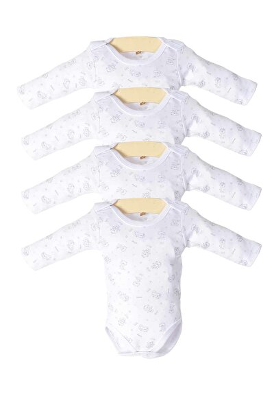Kız Bebek Beyaz Çıtçıtlı Uzun Kollu 4'lü Zıbın Takımı Ptk20s-407