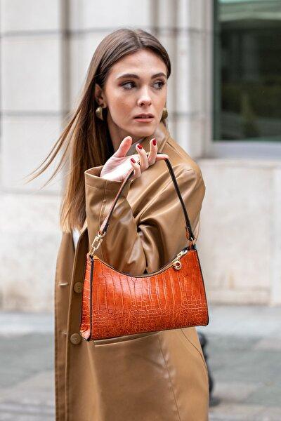 Aynı Butikte 2. Ürün 1 TL Turuncu Kroko Kadın Baget Zincir Askılı Omuz Çantası ve Postacı Çantası