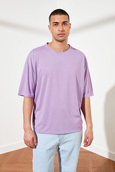 Mor Basic Erkek Oversize Bisiklet Yaka Kısa Kollu T-Shirt TMNSS21TS0811