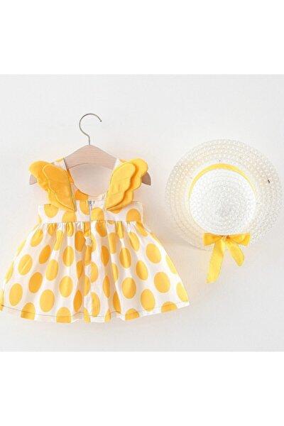 Kız Bebek Sarı Kelebek Elbise ve Şapka