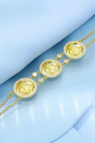 Kadın Altın Üç Tuğralı Altın Modeli Gümüş Bileklik