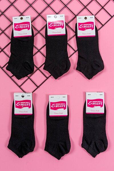 6' Lı Kadın Düz Siyah Pamuklu Likralı Patik Çorap
