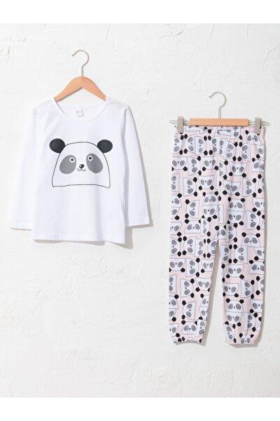 Kız Çocuk Beyaz Pijama Takım
