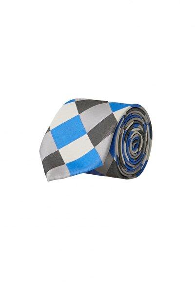 Erkek Bej-Mavi Desenli Klasik Nano Kravat