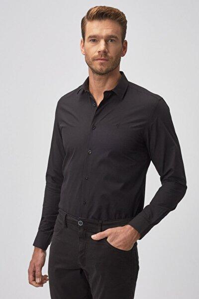 Erkek Siyah Tailored Slim Fit Klasik Gömlek