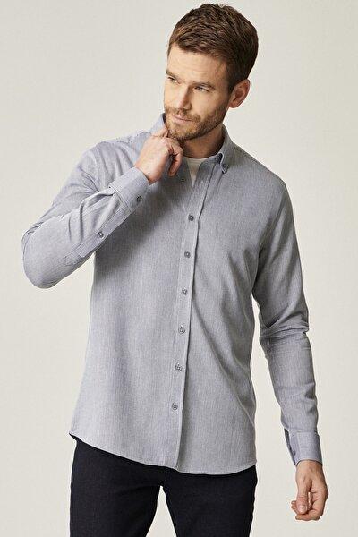 Erkek Lacivert Tailored Slim Fit Dar Kesim Düğmeli Yaka %100 Koton Gömlek