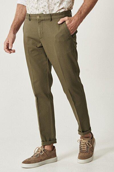 Erkek Yeşil Slim Fit Desenli Pantolon