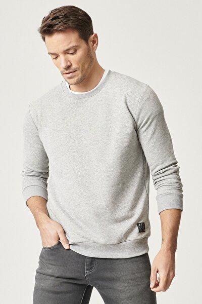 Erkek Açık Gri Slim Fit Günlük Rahat Sıfır Yaka Spor Sweatshirt