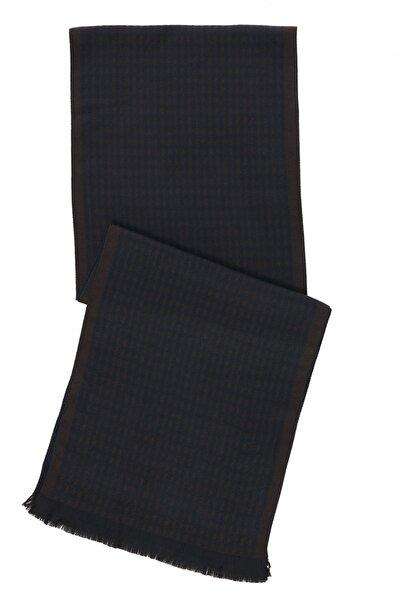 Erkek Kahverengi-Lacivert Desenli Atkı