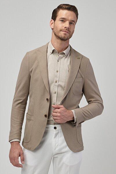 Erkek Bej Slim Fit Ceket