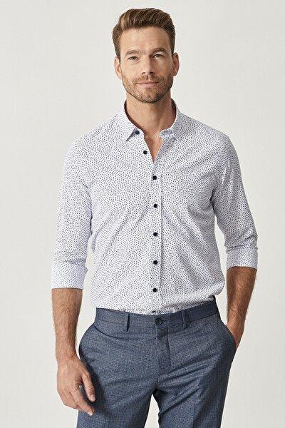 Erkek Beyaz-Lacivert Baskılı Düğmeli Yaka Tailored Slim Fit Gömlek