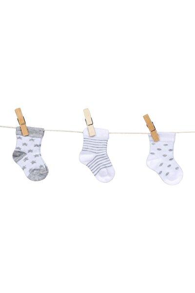 """C35571 Erkek Bebek """"yıldız"""" Desenli Dikişsiz 3'lü Çorap"""