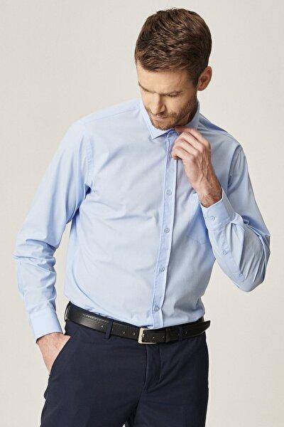 Erkek Açık Mavi Regular Fit Klasik Gömlek
