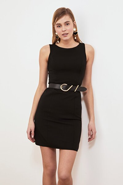 Siyah Basic Bodycon Elbise TWOAW20EL0746