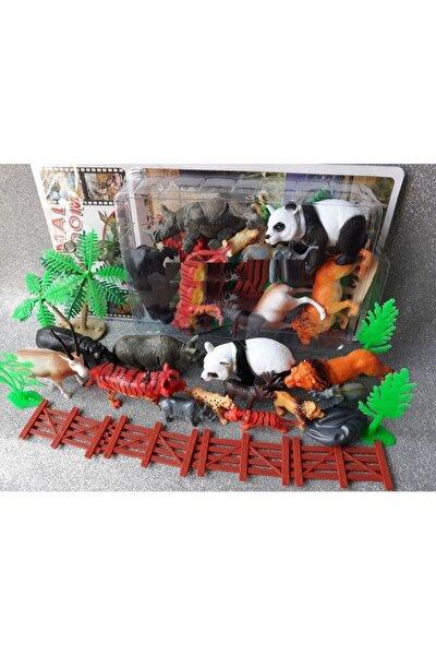Vahşi Orman Hayvanlar 21pcs Oyuncak Panda Hipopotam Aslan Kaplan