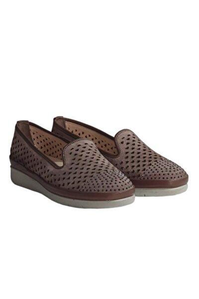 50350 Gömme Taşlı Hakiki Süet Deri Bayan Ayakkabı