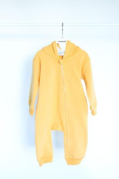 Unisex Bebek Sarı Kalın  Kapüşonlu Tulum
