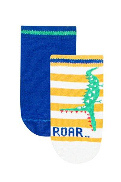 Beyaz - Mavi Erkek Çocuk Roar 2li Patik Çorap