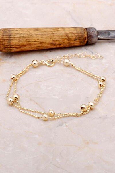 Kadın Altın Dorica İki Sıralı Yaldızlı Gümüş Bileklik 3385