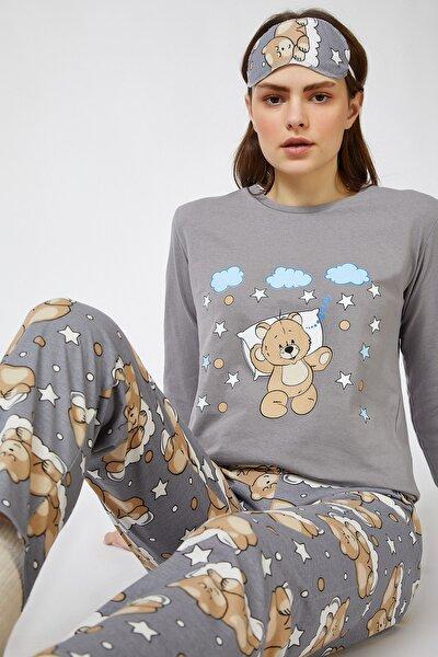 Kadın Taş Grisi Uyku Bantlı Baskılı Pijama Takımı EC00026
