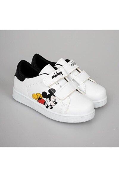 Unisex Çocuk Beyaz Cırtlı Günlük Spor Ayakkabı