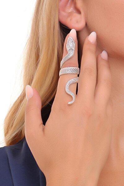 Kadın Antik Gümüş Kaplama Dolama Model Yılan Formlu Ayarlanabilir Sağ Parmak Yüzük