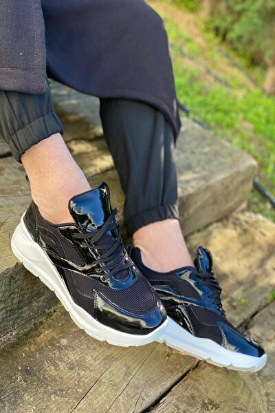 Erkek Siyah Kenarları Çapraz Şerit Çizgi Detaylı Sneaker Spor Ayakkabı