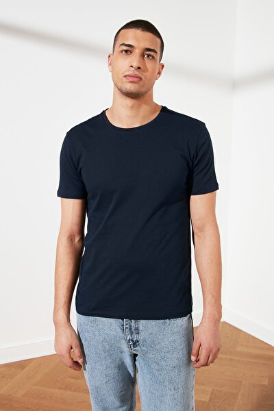Lacivert Erkek Basic Pamuklu Kısa Kollu Bisiklet Yaka  Slim Fit T-Shirt - TMNSS19BO0001