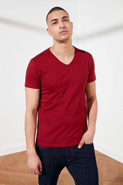 Bordo Basic Erkek Slim Fit V Yaka Kısa Kollu T-Shirt TMNSS19BO0002