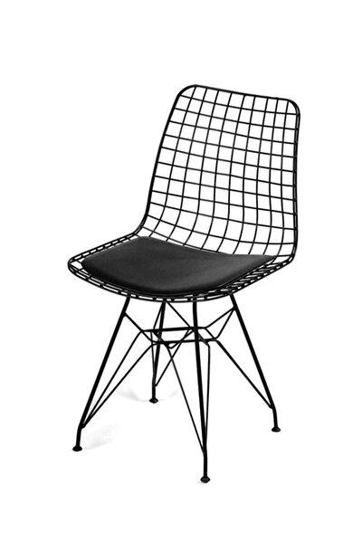 Siyah Dekor Tel Sandalye