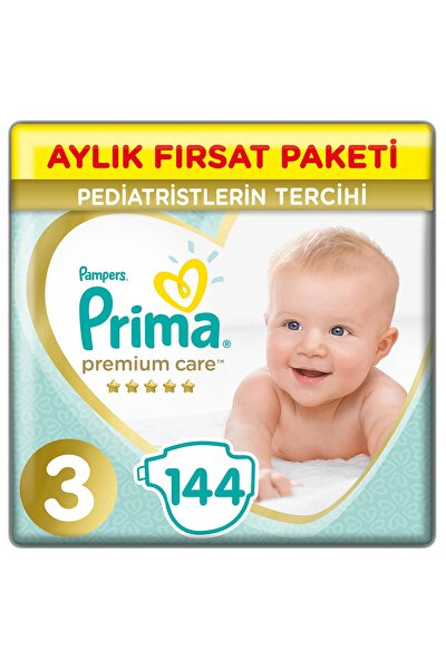 Bebek Bezi Premium Care 3 Beden 144 Adet Midi Aylık Fırsat Paketi
