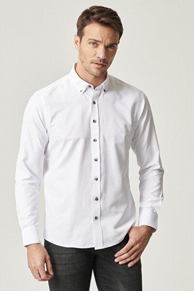 Erkek Beyaz Tailored Slim Fit Dar Kesim Düğmeli Yaka Gabardin Gömlek