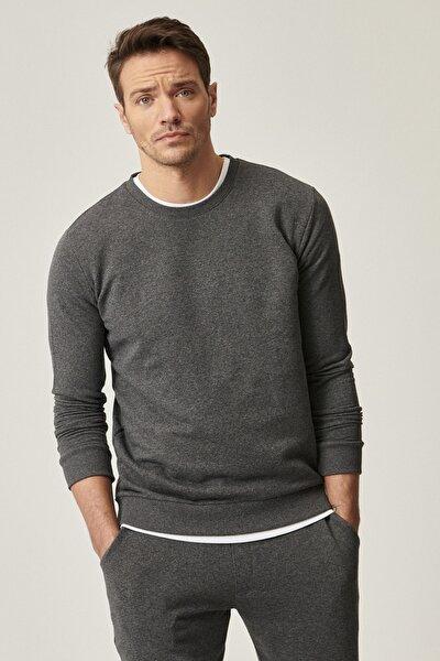 Erkek Antrasit Slim Fit Günlük Rahat Sıfır Yaka Spor Sweatshirt