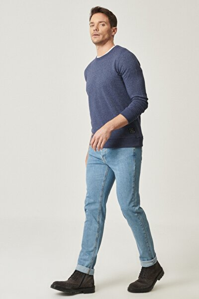 Erkek Lacivert Slim Fit Dar Kesim Denim Esnek Jean Kot Pantolon
