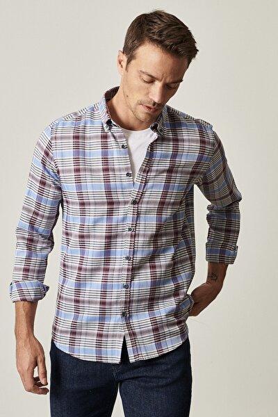 Erkek Antrasit-Saks Tailored Slim Fit Düğmeli Yaka Kareli Gömlek