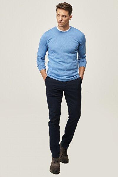 Erkek Lacivert Kanvas Slim Fit Dar Kesim Yan Cep Chino Pantolon